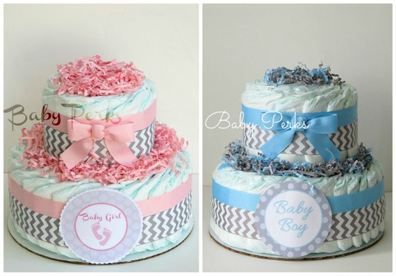 Pink And Grey Baby Shower . Blue And Grey Safari Diaper Cake .