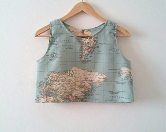 World Map Crop Top, Map Printed Top, Atlas Summer Top, Made to Order