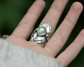 Yavanna Ring. size 10.25 ( green prehnite gemstone ring. antique sterling silver. green nature jewelry )
