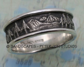 MOUNTAIN LANDSCAPE Wedding Band, 8mm width, in Sterling Silver, Pine Tree Ring, Pine Band, Mountain Band