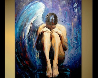 Erotic Art Original Oil Painting Naked Woman Nude Art Erotic Painting Custom Large Painting Blue Angel Painting Canvas Nude Painting