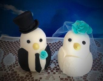Custom Made Gumpaste Fondant Wedding Cake Topper Mr Mrs Birds Doves Worldwide Shipping