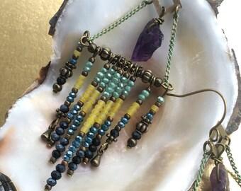 Amethys and Seed bead earrings.