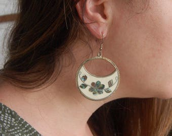 Large Mexican Dangle Earrings Round White Vintage Alpaca Abalone Statement Flower Dangles Boho Chic