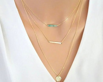 Genuine Emerald layering necklace set, Skinny bar Necklace, Hammered disc necklace, personalized name bar necklace, Engraved bar necklace