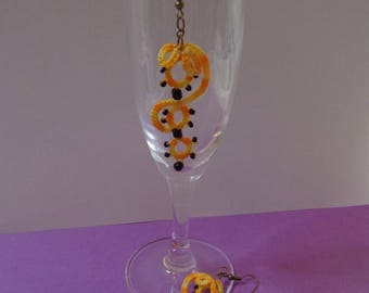 Earrings tatting variation of yellow and charcoal beads
