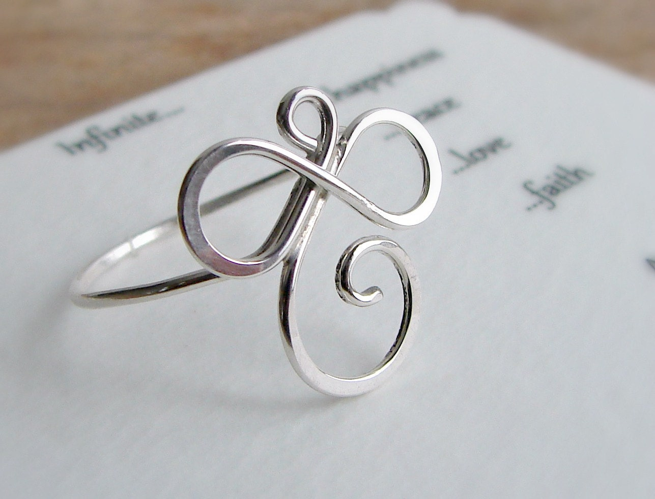 Sterling Silver Wire Ring Wishing Infinite Happiness Peace