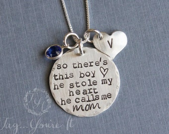 Mother Son Necklace, This Boy He stole my heart necklace, He calls me mom, hand stamped mom of boy necklace, Personalized, Custom Necklace