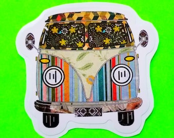 VW Bus Classic Split Window Hippie Van Psychedelic Stripes or Classic Red Wild Child Retro Kitsch Vinyl Sticker - More Styles