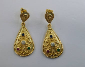 Byzantine drop earrings in solid sterling silver 925 with k24 gold filling set with cz