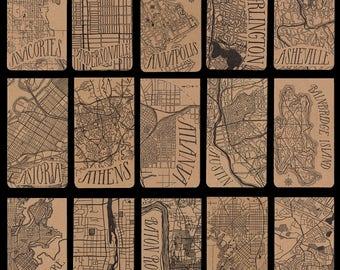 Cities A-E city map letterpress notepad