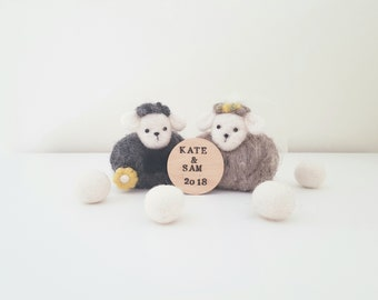 Mr & Mrs sheep, wedding sheep needle felted keepsake,cake topper