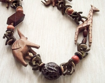 Designer wooden nuts animals necklace asymmetrical tribal bulk light weight ooak