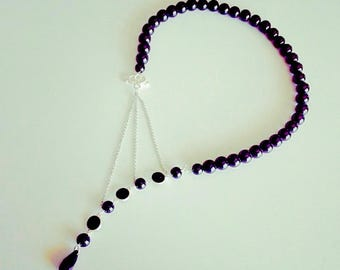 Collier perles point d'interrogation noir