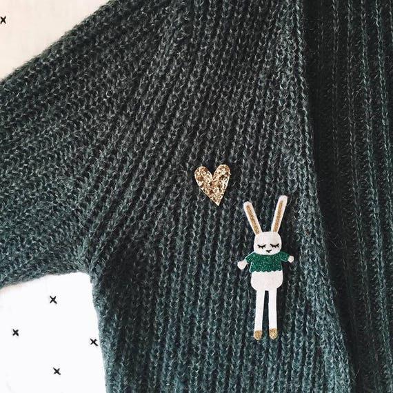 Firmin - rabbit - Handmde Brooch - soft Cactus - the Rochelle