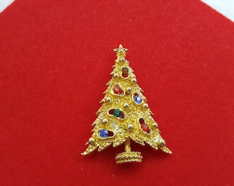 ART signed Modernist  Tree Brooch Seasonal Holiday Christmas Tree Gold tone