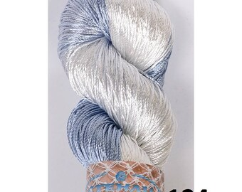 SALE Multicolor Viscose SILK yarn, superfine , lace weight, bright  crochet thread in pink , blue grey, white
