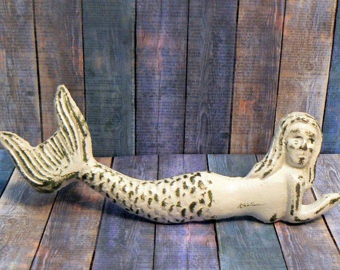 Mermaid Cast Iron Pull Handle Knob Cottage Chic Beach White Nautical Coastal Decor