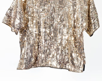 Glamorous Gold Sequin Top - Vintage Sequined Top For Women - Party Top - Shiny Top