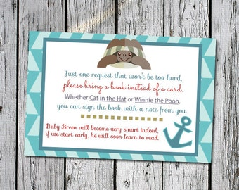 6 x 4 Nautical Build the Library for Baby Card for gender neutral sea nautical ocean themed baby shower - instant download printable