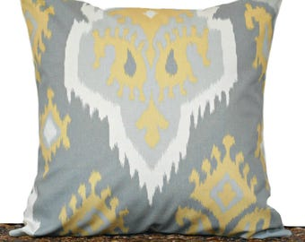 Gray Ikat Pillow Cover Cushion Mustard White Decorative Throw Pillow 18x18