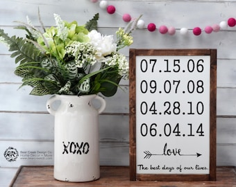 Special Dates Sign / Gift for Mom / The Best Days Sign / Anniversary Gift / Custom Family Sign / Important Dates Sign / Birth Date Sign