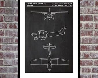Airplane Patent, Cessna 172 Airplane Decor, Airplane Art, Airplane Print, Aviation Decor, Airplane Patent, Aviation Art, Aviation Art, Pilot