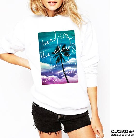 Head in the clouds feet on the ground | Unisex Crewneck Sweatshirt | Palm tree on watercolor background | Colorful Graphic Shirt | ZuskaArt