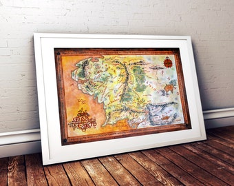Middle earth map etsy the lord of the rings middle earth wall decor tolkien map canvas middle earth wall decor gumiabroncs Image collections