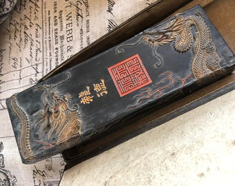Vintage with Hand Carved Dragon with Antique Seal Ink Stick