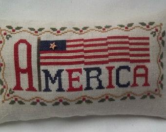 American Flag Cross Stitch Pillow Patriotic Mini Pillow Americana Shelf Pillow