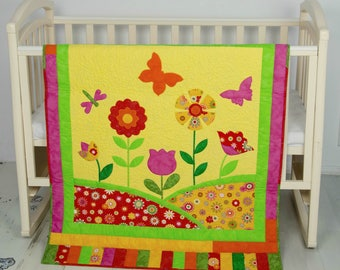 Flower Quilt Baby Shower Gift Idea Nursery Décor Nursery Bedding Pink Butterfly baby quilt baby blanket flower girl gift patchwork quilt