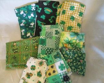 St Patricks Day Fabric Scrap Bundle - Craft-Quilt - 1.5 lbs