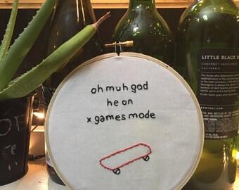 X Games Vine Inspired Embroidery Hoop Art *RIP Vine*