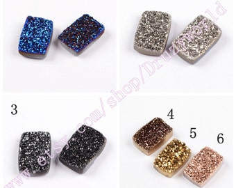 8x12mm Rectangle Colorful Natural Agate Titanium Druzy Cabochon CAB Real Drusy Gemstone Natural Titanium Druzy Geode Jewelry Gems LSF006