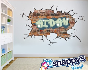 Brick Wall Graffiti Name, Style and Color Scheme Wall Decal - Vinyl, Wall Art, Kids Room, Rec Room, Decor, Room Graphics, Easy Application!