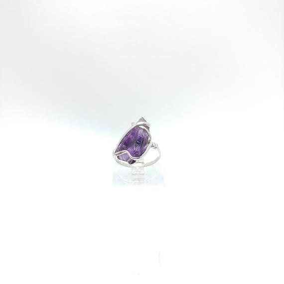 Raw Amethyst Ring | Sterling Silver Ring Sz 5.5 | Raw Stone Ring | Raw Crystal Ring | Chevron Amethyst Jewelry | Rough Purple Quartz Ring