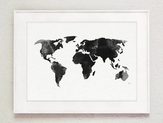 World map gray home decor map silhouette watercolor world map gray home decor map silhouette watercolor painting gift idea illustration mens gift idea drawing gumiabroncs Images