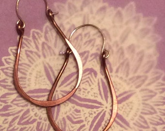 Hoop Earrings Holiday Gift Natural Jewelry Pure Copper Earrings Teardrop Style