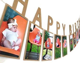 Happy Birthday Photo Banner // Happy Birthday Banner // First Birthday Photo Banner // First Birthday Banner // Photo Birthday Banner