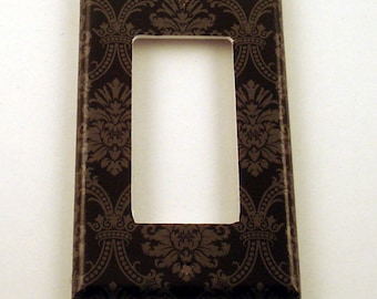 Rocker Light Switch Cover Wall Decor Switchplate Switch Plate in  Black and Gray Damask (214R)