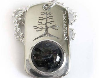 Men's glass pet cremation Triumph dog tag sterling silver necklace. Hand cut tree. Heirloom quality rememberance jewelry. Engraved memorial.