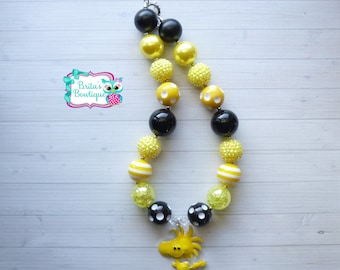 Woodstock Chunky Bubblegum Bead Necklace Peanuts Character Bubblegum Bead Necklace Woodstock Necklace