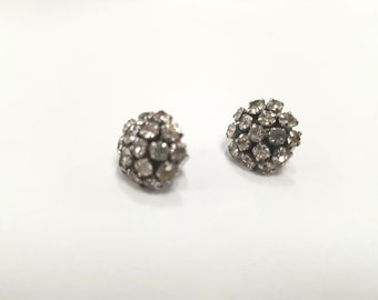 vintage 50s earrings, silver rhinestones, glamour gal, 1950s costume, 50s jewellery, clip ons