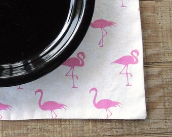 Pink Flamingos Lined Placemats, Set of 4, Custom Order Fun and Funky Glamping Retro Table Linens Home Decor