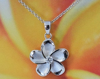 Plumeria Pendant, Sterling Silver Hawaiian Plumeria Flower W CZ Pendant Necklace, N2001 Mother's Day Gift