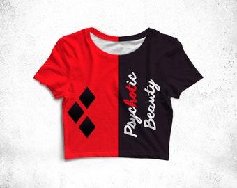 Harley Quinn Top - Harley Quinn Cosplay, Harley Quinn Costume, Harley Quinn Shirt, Harley Quinn Gift, Comics Shirt, Comics Tee, Crop Top