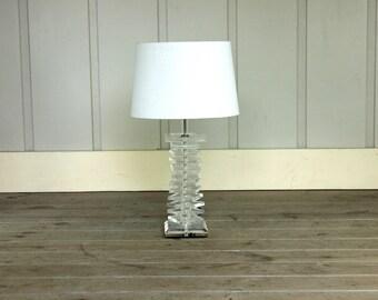 Vintage Stacked Lucite Table Lamp Geometric Karl Springer Era Mid Century Modern Retro 70's Hollywood Regency