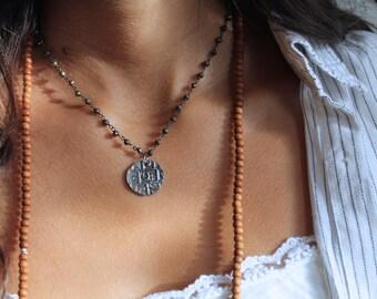 Antique silver coin necklace, Pyrite oxidized silver chain necklace, pyrite stone chain necklace, bhutan coin necklace, oxidized silver coin