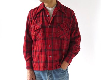 Red Plaid Shirt | 70s Men's Shirt | Men's Plaid Shirt | Medium M